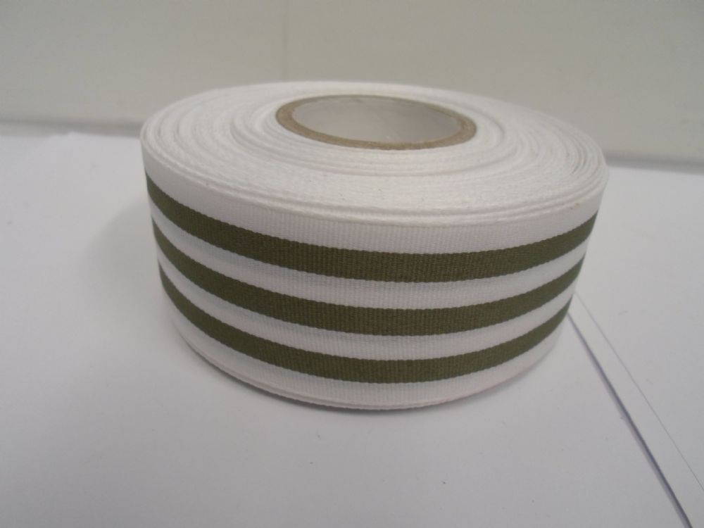 White With Olive Green Stripe Grosgrain Ribbon Deck Chair